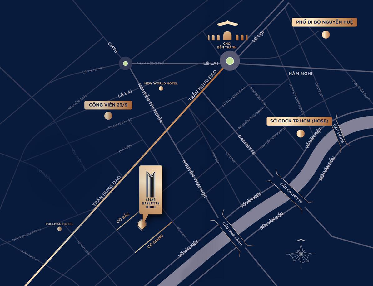 VỊ TRÍ DỰ ÁN CĂN HỘ GRAND MANHATTAN Điểm vàng kết nối giao thông
