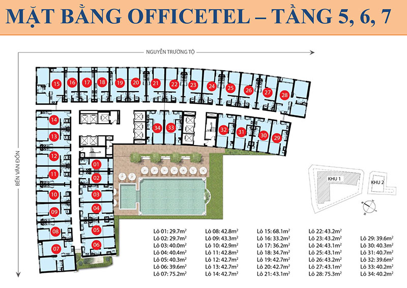 MB OFFICETEL TẦNG 5,6,7