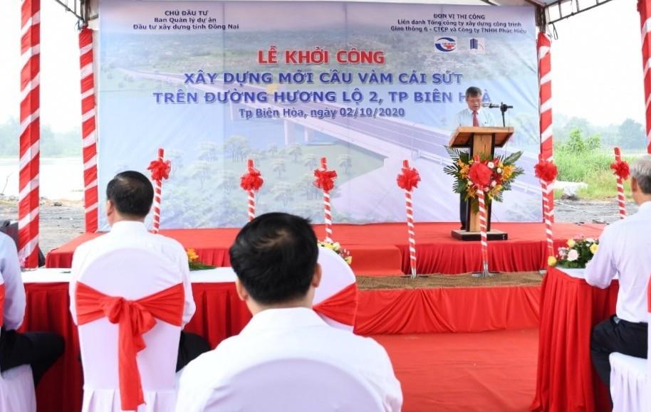 Ông Cao Tiến Dũng - Chủ tịch UBND tỉnh Đồng Nai có lời phát biểu tại lễ khởi công