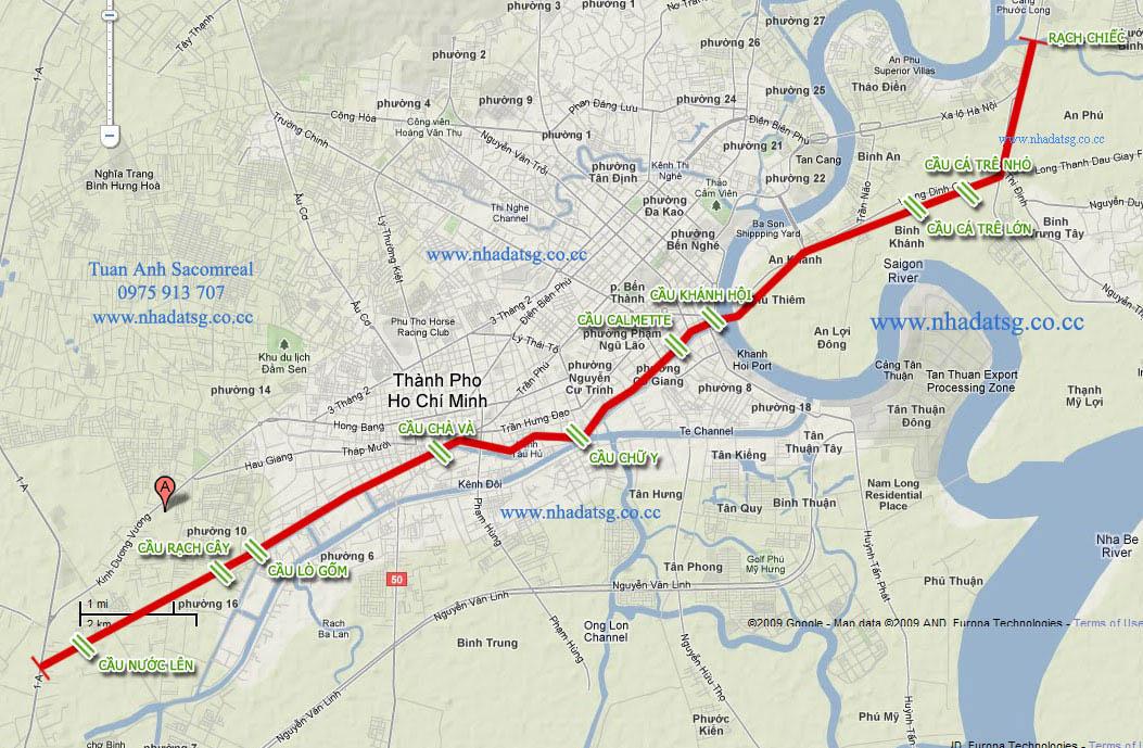 Vị trí tuyến đường đại lộ Đông Tây