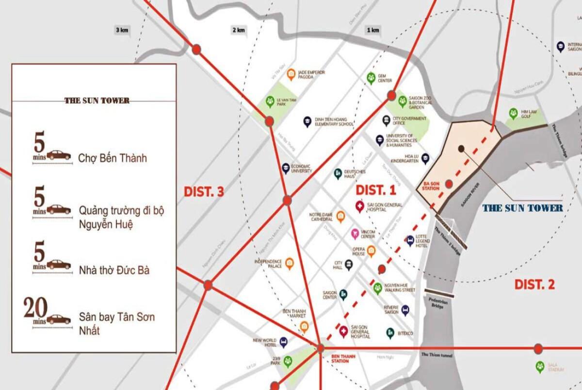 Vị trí có khả năng liên kết các địa điểm nổi bật của thành phố