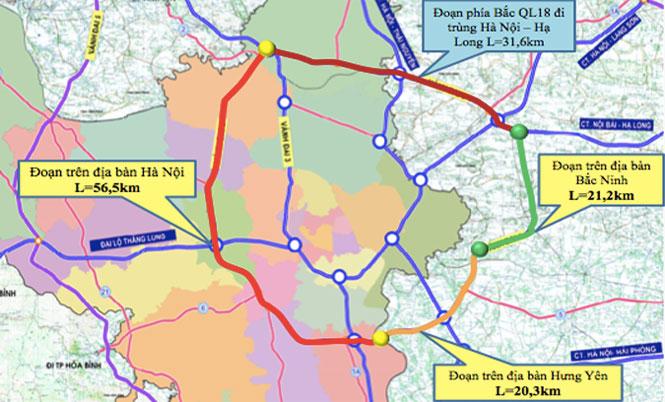 Đường Vành đai 4 được quy hoạch chia làm các giai đoạn